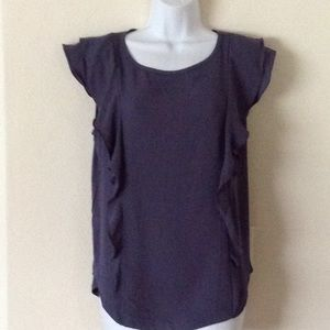 Gently used dark gray with ruffles cap sleeve top.